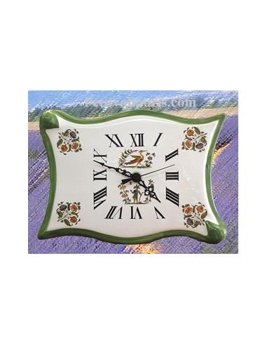 Horloge faïence modèle parchemin décor Tradition Vieux Moustiers vert