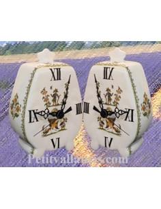 Pendule à poser modèle cheminée décor Tradition Vieux moustiers polychrome