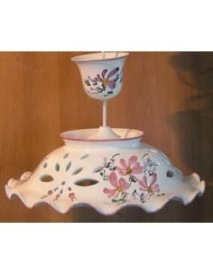 Suspension décorative céramique décor Fleuri rose D35