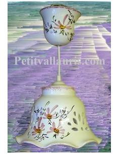 Suspension décorative céramique dentelée Cloche fleurie rose