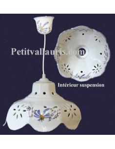 Suspension céramique facette décor Fleuri bleu