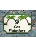 Plaque de Maison rectangle décor et texte personnalisés les 2 palmiers-cocotiers inscription et bord verts