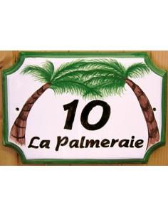 Plaque de Maison en céramique aux angles incurvés motif artisanal les 2 palmiers-cocotiers inscription personnalisée marron