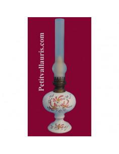 Lampe bec à pétrole décor Fleuri bleu (montage au choix)