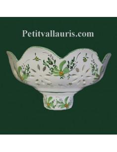 Applique ajourée facette décor Fleur verte