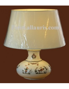 Lampe en faïence modèle Elipse décor Tradition Vieux Moustiers polychrome