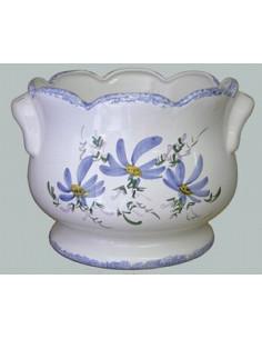 Cache pot festonné anse décor Fleuri bleu