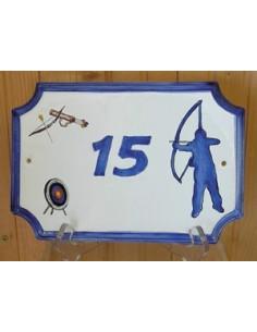 Plaque de Maison rectangle décor et texte personnalisés tir à l'arc inscription et bord bleu