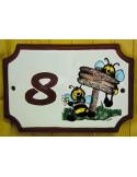 Plaque de Maison rectangle décor et texte personnalisés abeilles BD inscription et bord rouille