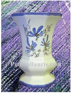 Vase Medicis en faïence décor Fleuri bleu Taille 3