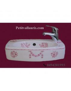 Lave-main modèle Ulysse décor Tradition Vieux Moustiers rose
