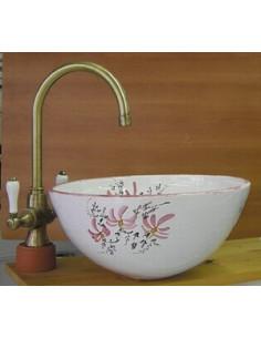 Vasque conique en faïence décor fleurs roses