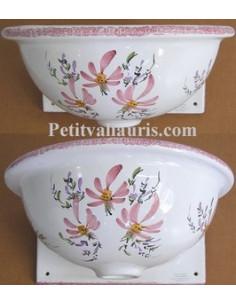 Vasque murale en faïence émaillée fleurs roses taille 2