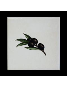 Carreau décor brin olives noires 10 x 10 cm
