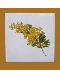 Carreau décor mimosas taille 1 10 x 10 cm