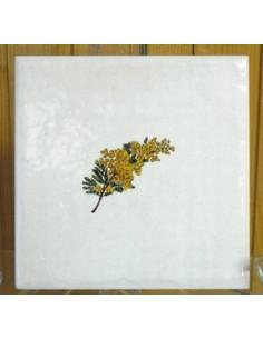 Carreau décor mimosas taille 3 10 x 10 cm