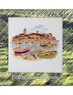 Carreau décor port Provençal 10 x 10 cm