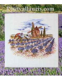 Carreau décor paysage provençal motif moulin et lavandes 10 x 10 cm