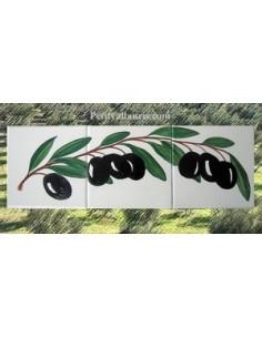 Fresque sur 3 carreaux brin d'olives 15 x 15 cm côté droit