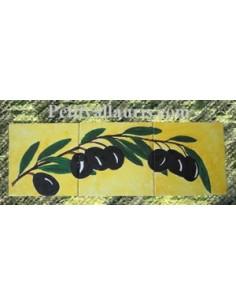 Fresque sur 3 carreaux brin d'olives 15 x 15 cm fond jaune