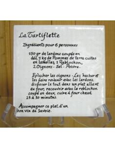 Carreau décor Recette de la Tartiflette 10 x 10 cm