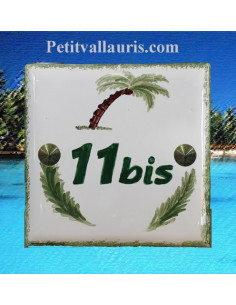 Numéro plaque de maison motif artisanal palmier-cocotier pose horizontale