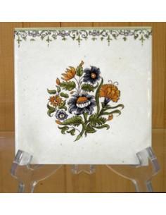 Carreau frise droite gros bouquet polychrome décor Tradition Vieux Moustiers