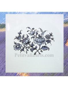 Carreau Bouquet de fleurs décor Tradition Vieux Moustiers bleu