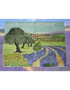 Fresque décor Village Champ de lavande et oliviers
