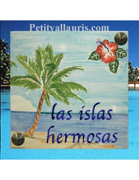 Plaque texte et décor personnalisé pour votre maison décor exotique texte bleu