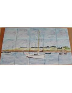 Fresque murale sur faïence décor Golfe du Morbihan