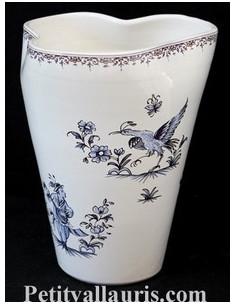 Vase Glaïeul en faïence décor Tradition Vieux Moustiers polychrome H20 cm