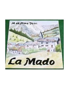 Grande plaque de maison en céramique modèle carrée décor village de montagne + texte personnalisé