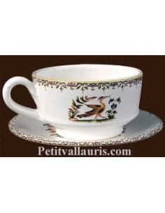 Tasse à café et sous tasse décor Tradition Vieux Moustiers bleu