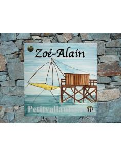 Grande plaque de maison en céramique modèle carrée motif artisanal carrelet embouchure gironde + texte personnalisé