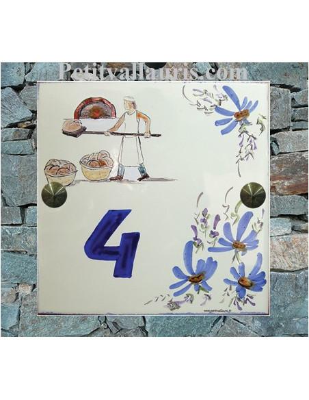 Grande plaque de maison en céramique modèle carrée motif artisanal boulanger et son four texte personnalisé