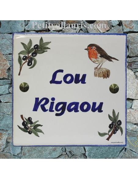 Grande plaque de maison en céramique modèle carrée motif artisanal oiseau rouge gorge + texte personnalisé