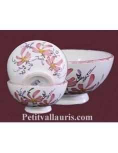 Bol en faïence avec anses décor Tradition Vieux Moustiers polychrome