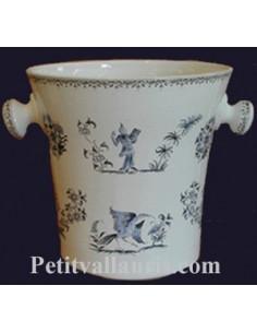 Seau à champagne en céramique décor Tradition Vieux Moustiers polychrome
