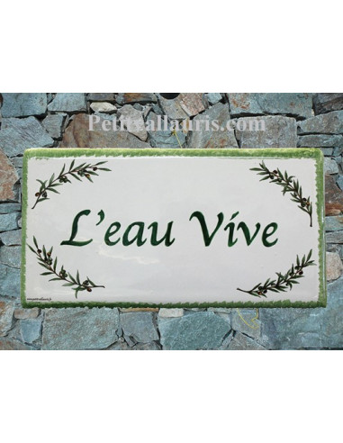 Plaque de Maison rectangle décor brins d'olivier aux angles inscription personnalisée bord verte