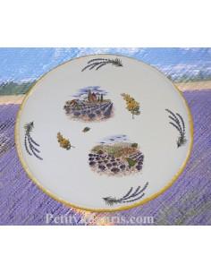 Plat à tarte en faïence blanche décor Paysage de Provence