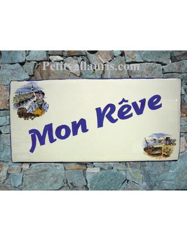 Plaque de Maison rectangle décor marin pécheur et chalut inscription personnalisée bord bleu