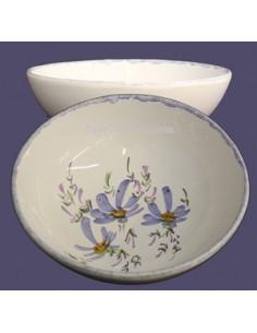 Assiette creuse à soupe ou à salade décor Fleuri bleu