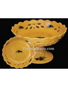 Coupe à fruit sans pied D30 décor Tradition Vieux Moustiers polychrome