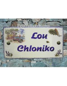 Plaque de Maison rectangle décor calanques et brins d'olivier inscription personnalisée et bord bleu