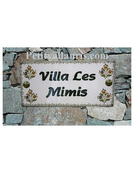 Plaque de Maison en céramique émaillée décor fleurs polychromes + inscription personnalisée bord verte