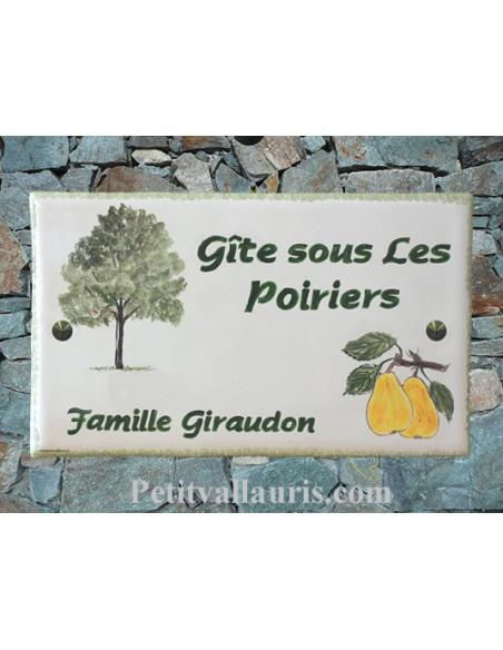 Plaque rectangulaire pour maison en céramique émaillée décor motif artisanal Le poirier + inscription personnalisée