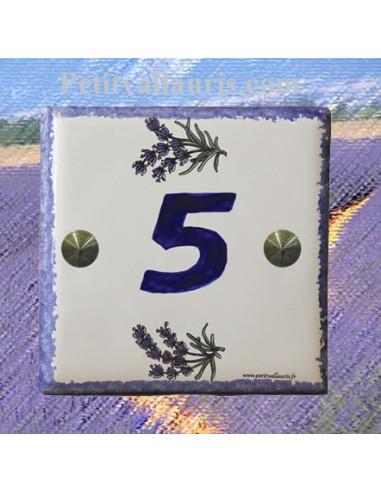 Numéro de rue ou de maison décor brins de lavande pose horizontale