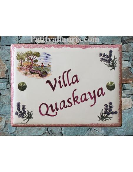Plaque de maison céramique décor calanque et brins de lavande + inscription personnalisée