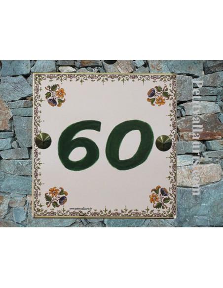 Plaque numéro de maison en faience émaillée décor tradition polychrome + chiffre personnalisé vert
